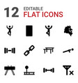 12 strength icons vector image vector image