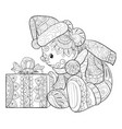adult coloring bookpage a cute little bear vector image
