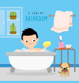 bathroom home boy shower cartoon vector image vector image