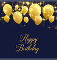 beautiful happy birthday greeting with golden vector image vector image