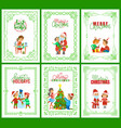 best wishes santa claus with kids on laps set vector image