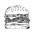 black ink pen outline detailed hamburger icon vector image