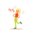 blonde girl laughing out loud and holding her vector image vector image
