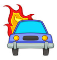 burning car icon cartoon style vector image vector image
