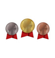 champion medal with red ribbon gold silver or vector image