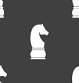 Chess knight icon sign Seamless pattern on a gray vector image vector image