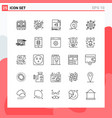 collection 25 icons in line style modern vector image vector image