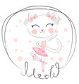 cute dancing cat ballerina in blue tutu vector image