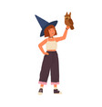 cute little wizard holding magical owl flat vector image vector image