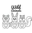 cute wild animal nature fauna set image vector image vector image
