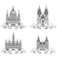 famous european capital city buildings landmarks vector image vector image