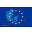 Flag of European Union with Denmark on background vector image vector image