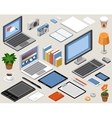 Flat isometric workspace laptop tablet vector image