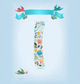floral letter i with blue ribbon and three doves vector image vector image