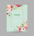 floral spring design template with golden frame vector image
