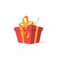 gift box with bow and ribbons red box vector image