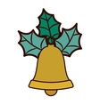 golden bell with christmas leaves vector image vector image