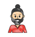 grated happy man with beard design and hairstyle vector image vector image