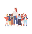 group joyful schoolchildren or pupils and vector image vector image