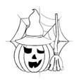 halloween pumpkin with hat and broom spider web vector image