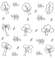 Hand draw various tree on doodles vector image vector image