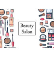 hand drawn makeup products background vector image vector image