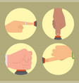 hand press red button finger control start vector image vector image