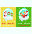 happy new year merry christmas poster santa elf vector image vector image