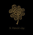 happy saint patrick s day gold shamrock clover vector image vector image