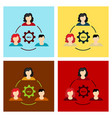 humans in circle with gear inside icon isolated vector image vector image