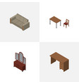 isometric furnishing set of couch table drawer vector image