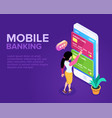 isometric mobile banking concept vector image vector image