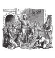 jesus triumphal entry and welcome into jerusalem vector image vector image