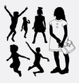 kid and children happy silhouette vector image vector image