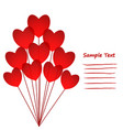 love greeting card with red hearts balloons stock vector image