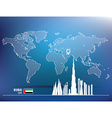 Map pin with Dubai skyline vector image vector image
