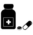 medicine icon on white background pills and vector image