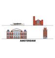 netherlands amsterdam flat landmarks vector image vector image