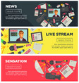 news sensation and live stream promotional vector image vector image
