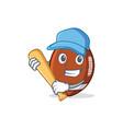 playing baseball american football character vector image vector image
