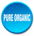 pure organic blue round flat isolated push button vector image vector image