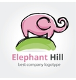 rose elephant on green hill vector image