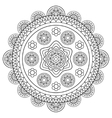 round floral rosette in black and white vector image vector image