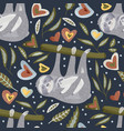 seamless pattern with sloths in flat style vector image vector image