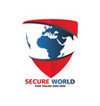 secure world logo vector image vector image