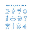 set food and drink icons vector image