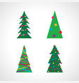 set of four christmas tree with christmas balls vector image