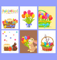 set of happy easter with flowers and sweet dessert vector image