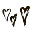 set of hearts ink brush on white background vector image