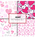 set patterns with colorful hearts doodle vector image